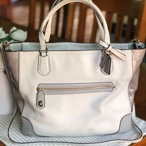 Coach Poppy Blair Color Block Leather Tote